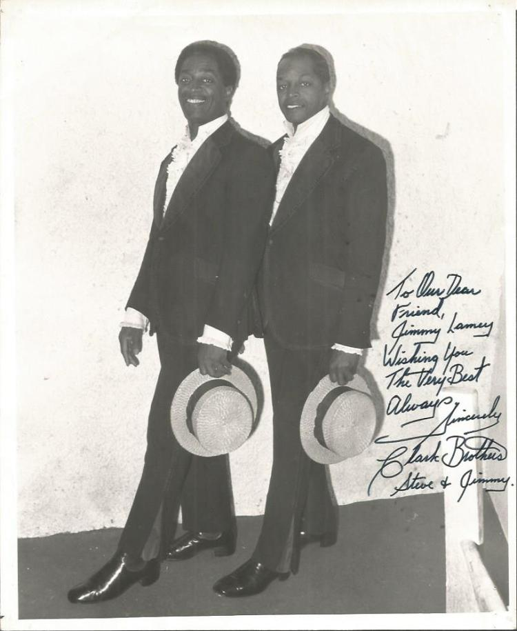 Clarke Brothers signed 10x8 b/w photo. Dedicated.
