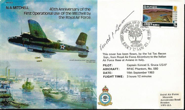 Conrad S Gruca US WW2 fighter ace signed 40th anni