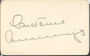 Constance Cummings signature card 2 x 1. American