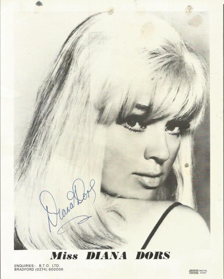 Diana Dors signed 10x8 b/w photo.  English actress