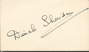Dinah Sheridan signature piece 2 x 1.  English act