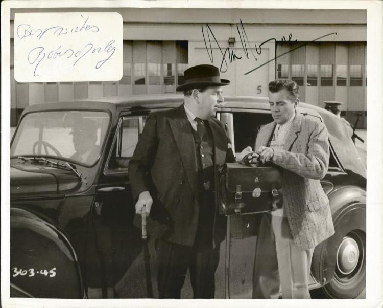 Dirk Bogarde and Robert Morley signed photo. Vinta