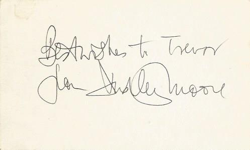 Dudley Moore signed index card. Small white 5x3 in