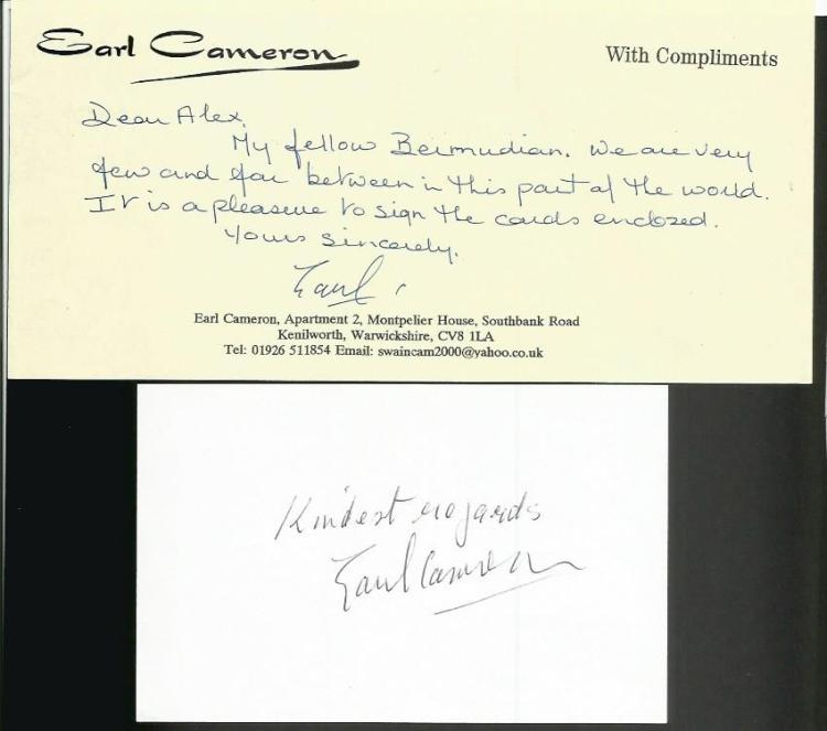 Earl Cameron signed white card.  Bermudian actor w