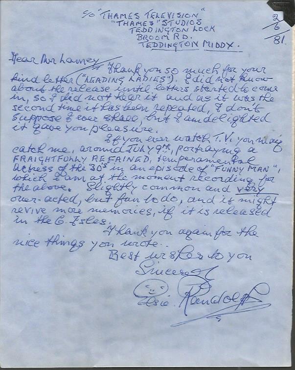 Elsie Randolph handwritten signed letter ALS dated