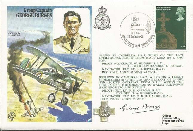 George Burges signed cover. Group Capt George Burg