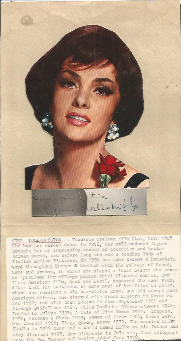 Gina Lollobridida signature piece attached to card