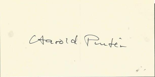 Harold Pinter large signature piece. English playw