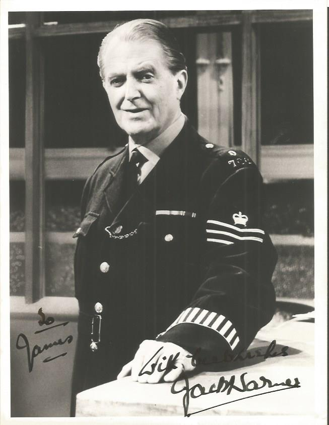 Jack Warner Dixon of Dock Green signed 8 x 6 dedic