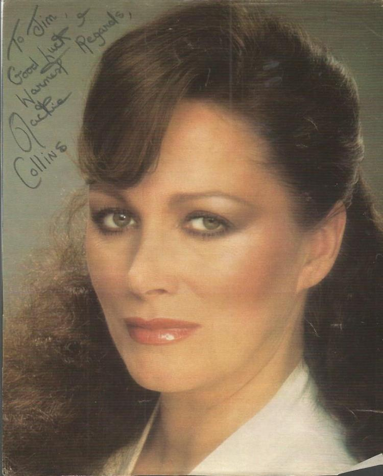 Jackie Collins signed 10 x 8 colour magazine photo