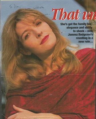 Jemma Redgrave signed colour magazine photo.  Dedi