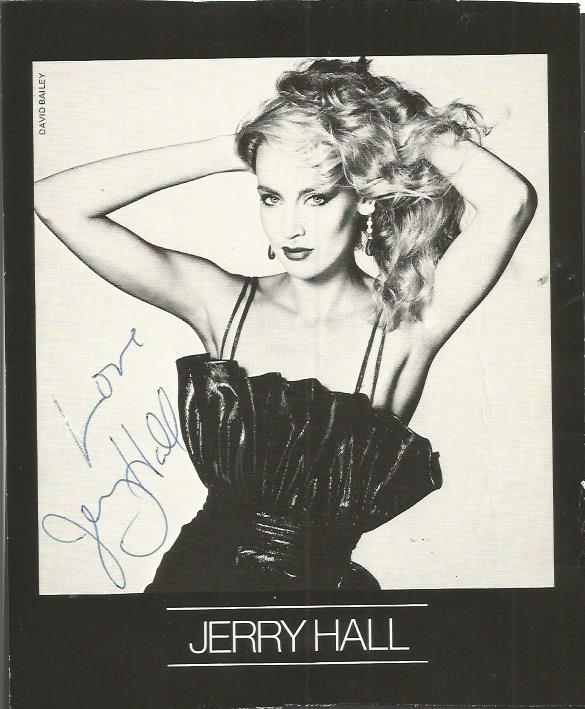 Jerry Hall signed b/w 6 x 6 promotional photo.  Am