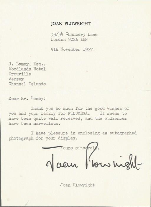 Joan Plowright typed signed letter TLS dated 9th N