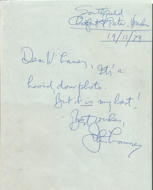 John Laurie hand written letter ALS dated 19/11/79