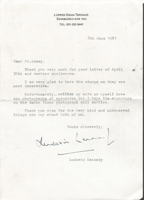 Ludovic Kennedy typed signed letter TLS dated 8th