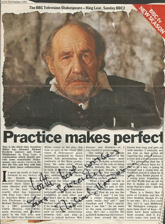 Michael Hordern signed colour magazine article.  E