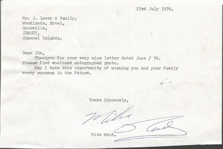 Mike Reid comedy legend typed signed letter TLS da