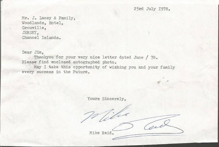 Mike Reid comedy legend typed signed letter TLS da