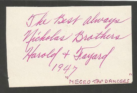 Nicholas Brothers signature piece. Nicholas Broth