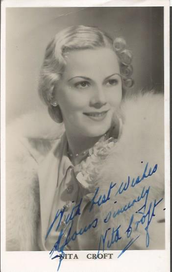 Nita Croft signed 6 x4 sepia photo 1930s actress G