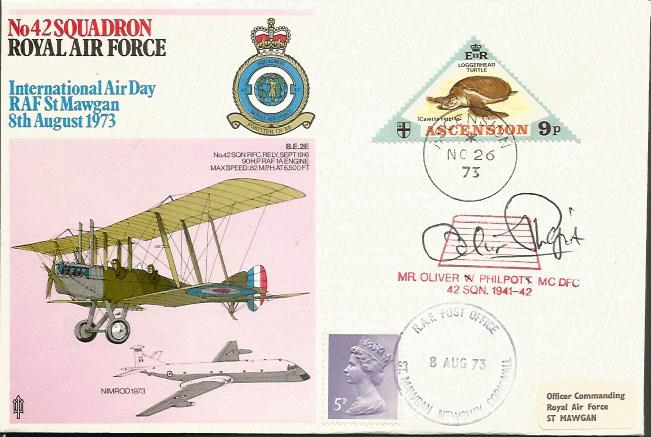 Oliver Philpott signed cover. 42 Sqn RAF cover sig
