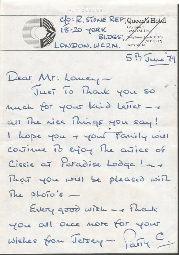 Pat Coombs handwritten signed letter ALS dated 5/6