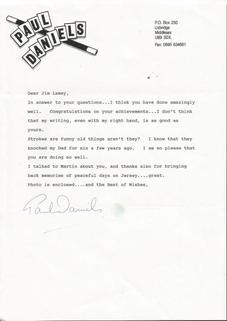 Paul Daniels signed typed letter on his own wand s