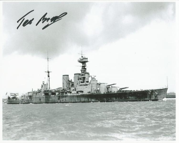 Ted Briggs signed 10x8 b/w photo of HMS Hood. Ted