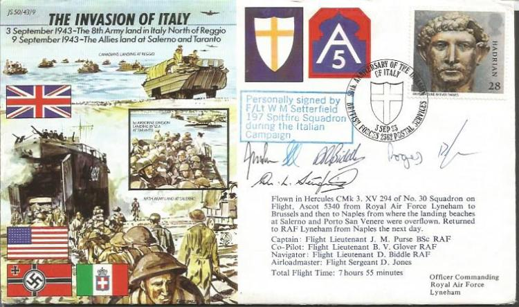 The Invasion of Italy 50th ann cover JS43/9b flown