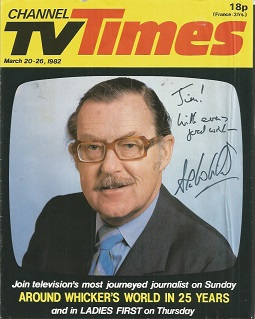 Alan Whicker signed Channel TV Times cover. Dedic