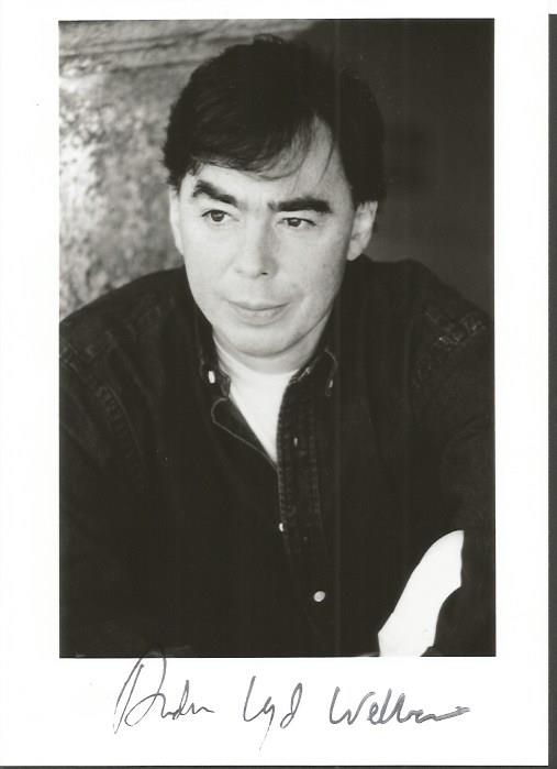 Andrew Lloyd Webber signed 6 x 4 b/w photo. Young