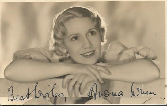 Anona Winn signed vintage photo. Australian born