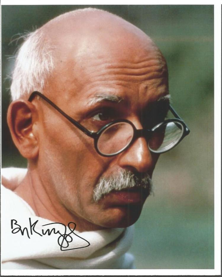Ben Kingsley signed colour 10x8 photo as Gandhi Go