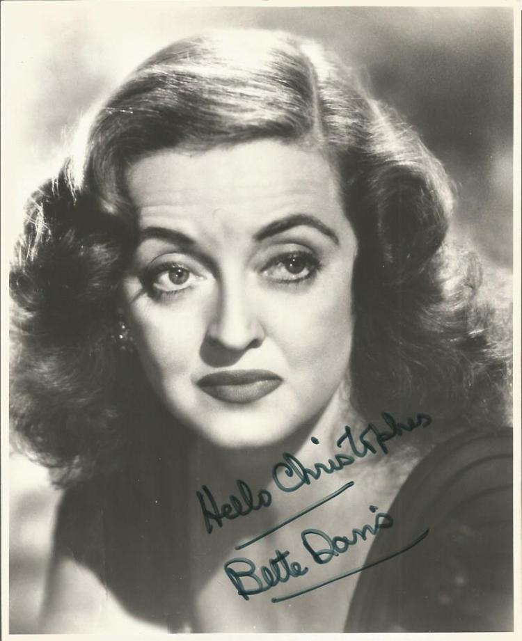 Bette Davis signed 10x8 b/w photo.  Slight crease