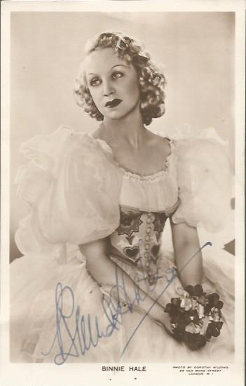 Binnie Hale signed vintage 6 x 4 photo.  English a