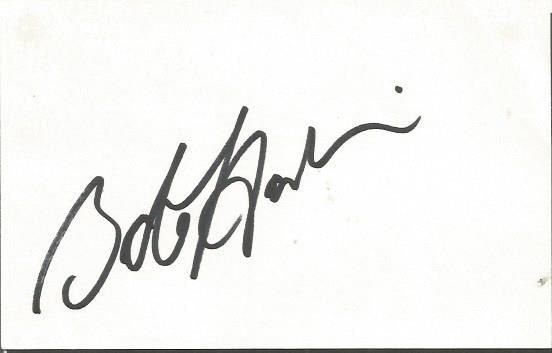 Bob Hoskins large signature piece on white card. E
