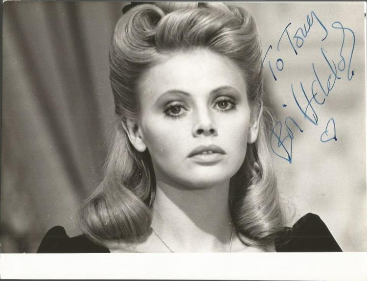 Britt Ekland signed 8 x 6 b/w photo.  Swedish film