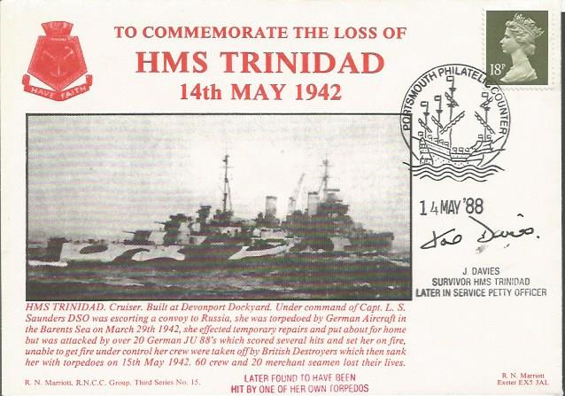 Commemorating the loss of HMS Trinidad cover. 3rd