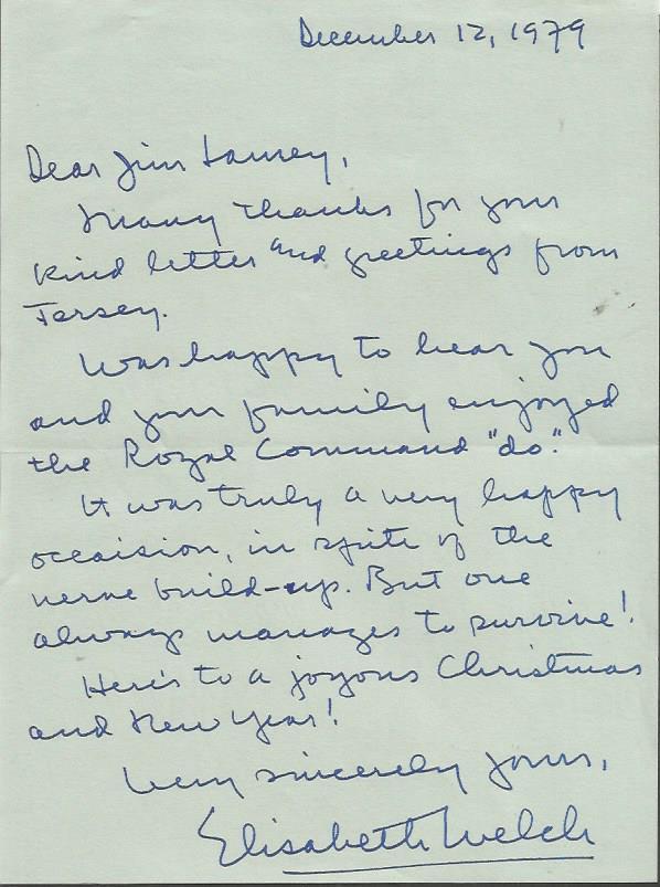 Elisabeth Welch handwritten signed letter ALS date