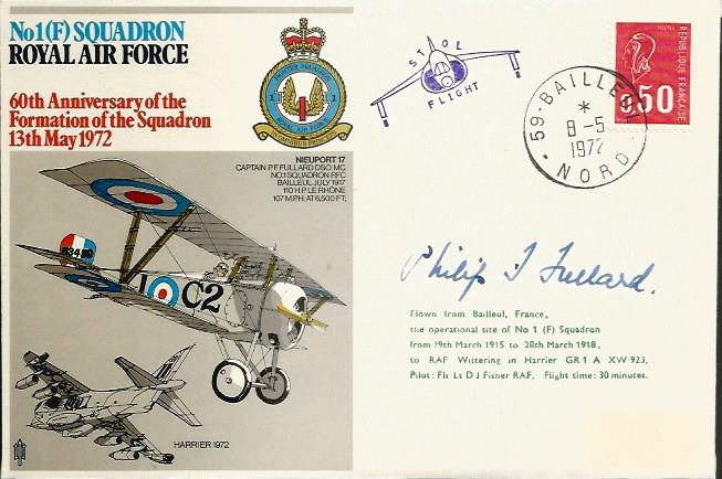 Great War fighter ace Phillip J Fullard signed cov