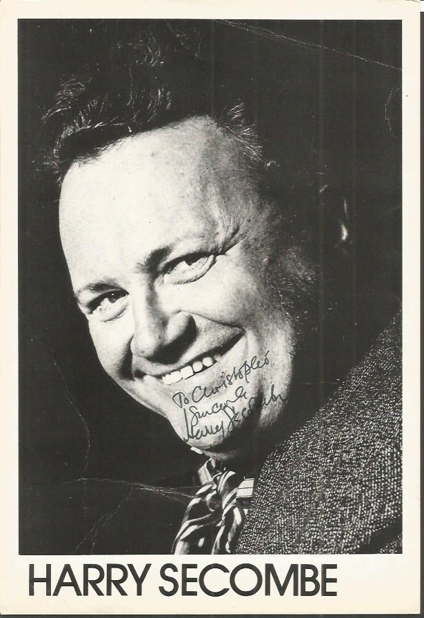 Harry Secombe signed b/w photo. Dedicated to Chris