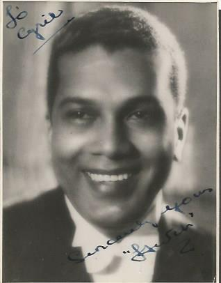 Leslie Hutchinson signed vintage 3 x 3 photo.  Ded