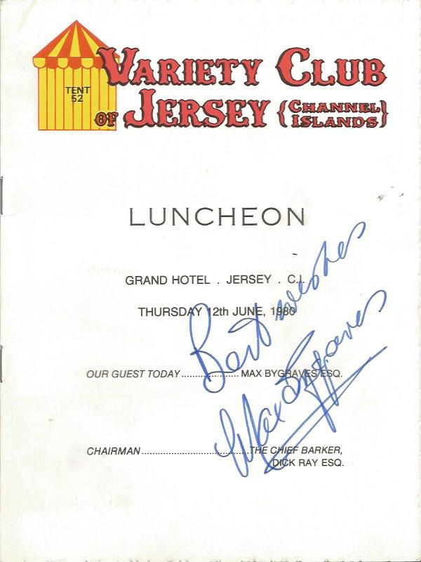 Max Bygraves signed Variety club lunch menu Good c