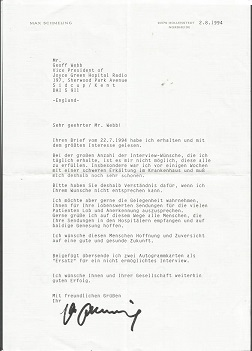 Max Schmeling typed signed letter TLS dated 2/8/94
