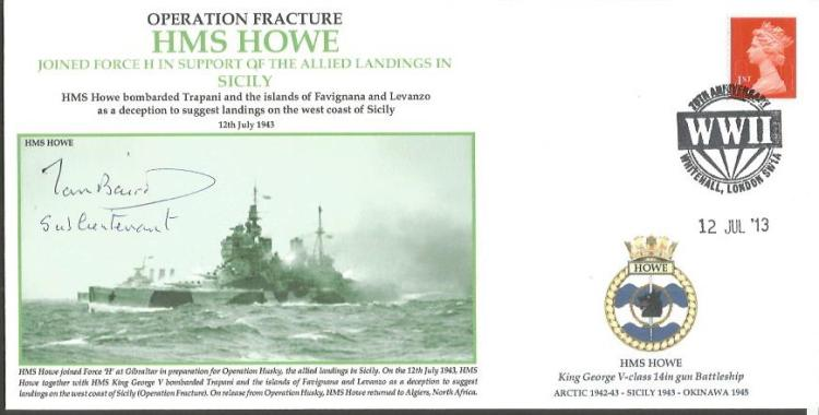 Operation Fracture HMS Howe cover signed by Vice A