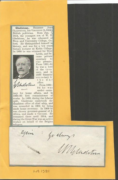 1st Viscount Herbert John Gladstone signature piec