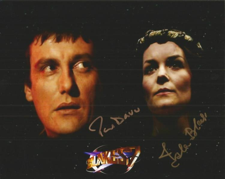 Paul Darrow and Isla Blair signed 10x8 colour Blak