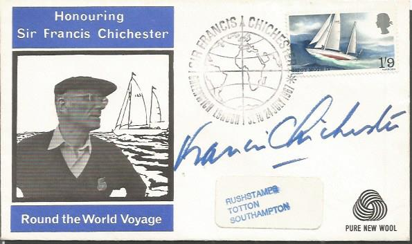 Francis Chichester signed 1967 FDC dedicated to hi