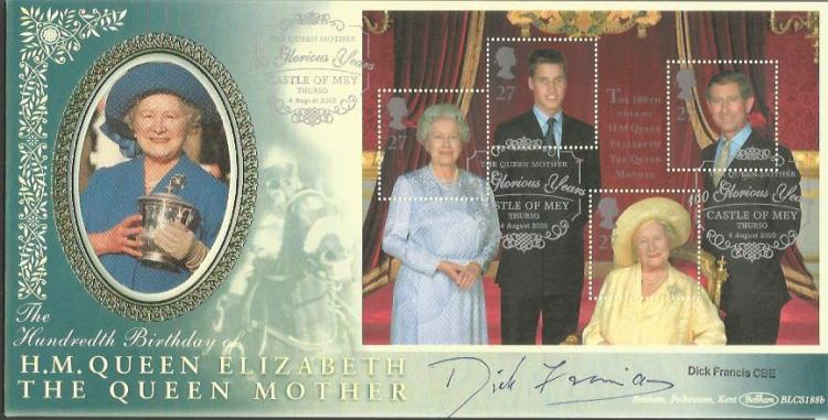 Dick Francis signed Benham official Queen Mother 1