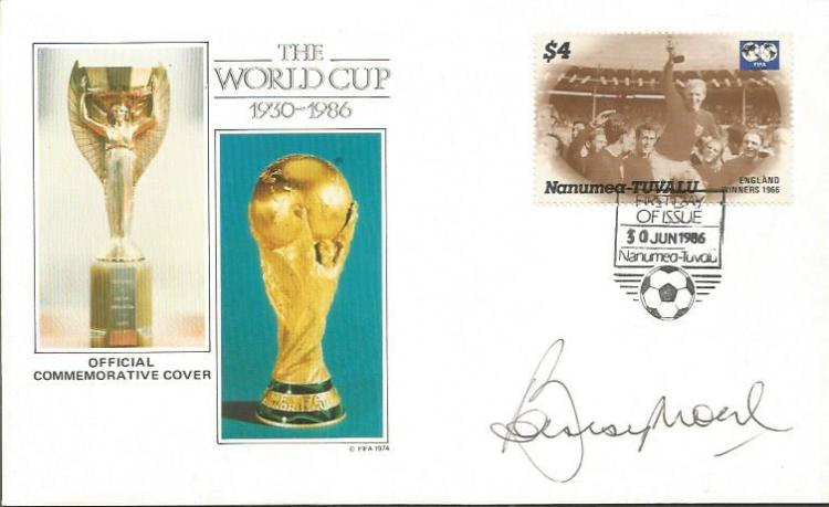 Bobby Moore signed World Cup Football cover Good c